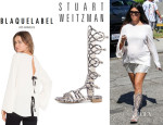 Kourtney Kardashian's Blaque Label Blouse And Stuart Weitzman 'Aphrodite' Gladiator Sandals