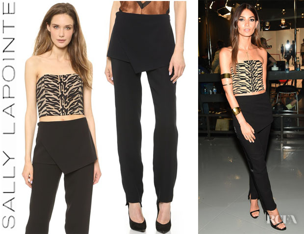 Lily Aldridge's Sally LaPointe Strapless Bustier And  Sally LaPointe Front Flap Pants