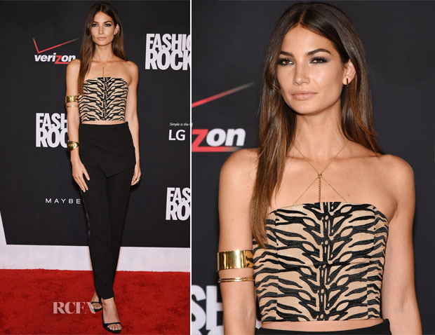 Lily Alridge In Sally LaPointe - Fashion Rocks 2014