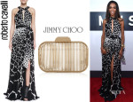 Michelle Williams' Roberto Cavalli Halter-Neck Giraffe-Print Gown And Jimmy Choo 'Cloud' Clutch