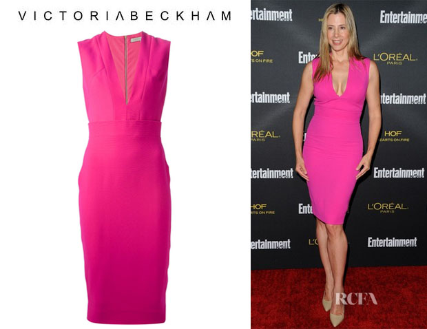 Mira Sorvino's  Victoria Beckham Deep V-Neck Dress