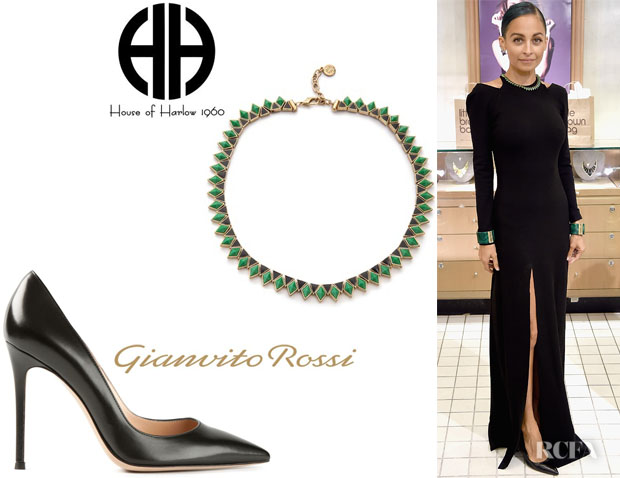 Nicole Richie's House of Harlow 1960 Wren Feather Collar Necklace And Gianvito Rossi 'Gianvito' Pumps