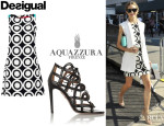 Olivia Palermo's Desigual 'Natalia' Shift Dress And Aquazzura + Olivia Palermo Cutout Leather Sandals