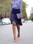Topshop Shirt, Osman Skirt, Vintage Dior Clutch and  Zara Pumps