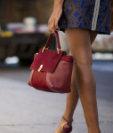 Markus Lupfer Sweater, Markus Lupfer Skirt, Roland Mouret Chaumont Bag, and Kurt Geiger Belgravia Sandals