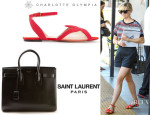 Reese Witherspoon's Charlotte Olympia 'Sandy' Sandals And Saint Laurent 'Baby Sac De Jour' Leather Tote