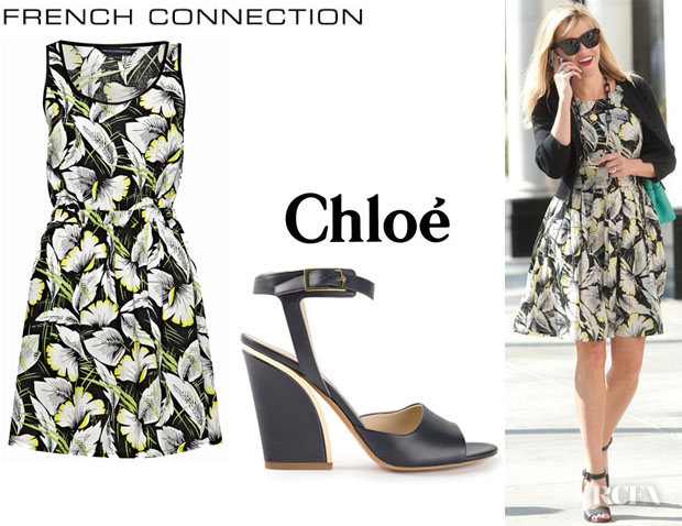 Reese Witherspoon's French Connection 'Hot House' Dress And Chloé Chunky Heel Sandals