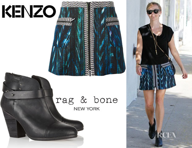 Reese Witherspoon's Kenzo Jacquard Mini Skirt And Rag & Bone 'Harrow' Leather Biker Boots
