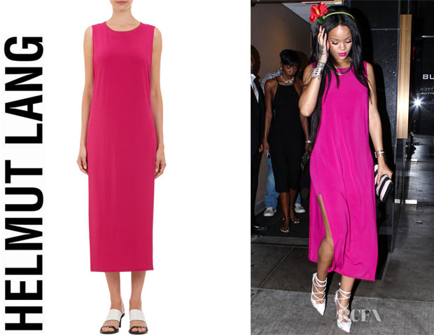 Rihanna's Helmut Lang High Slit Jersey Dress
