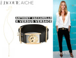 Rosie Huntington-Whiteley's Jacquie Aiche 'JA Bezel Rosary' Necklace And Anthony Vaccarello x Versus Versace Lion Head Belt