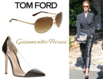 Rosie Huntington-Whiteley's Tom Ford 'Charles' Aviator Sunglasses And Gianvito Rossi Perspex Detail Pumps