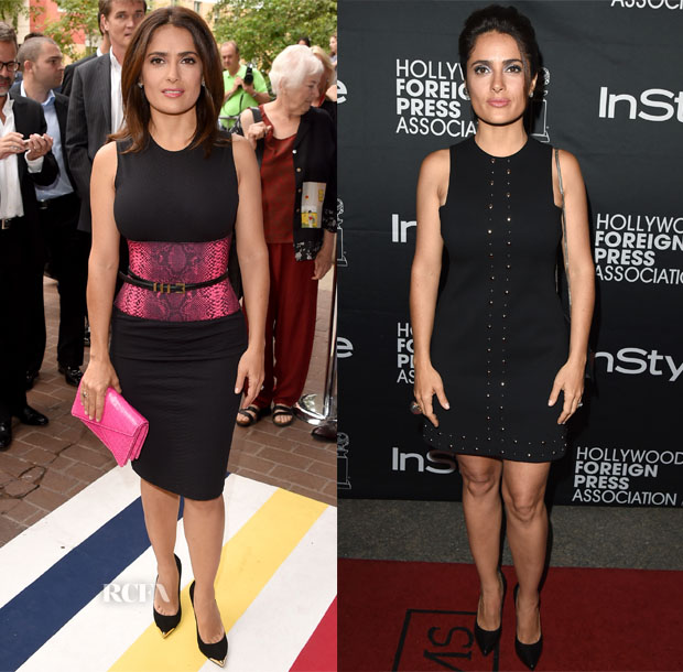 Salma Hayek In Christopher Kane & Saint Laurent - 'Kahlil Gibran's The Prophet' Toronto Film Festival Premiere & HFPA & InStyle's 2014 TIFF Celebration
