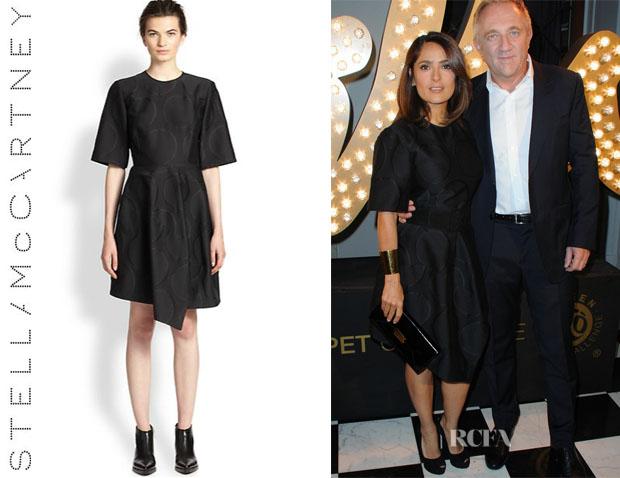 Salma Hayek's Stella McCartney Point-Hem Dot Jacquard Dress