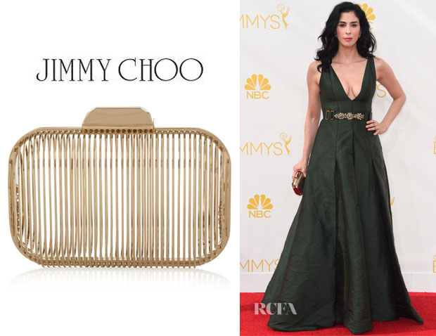 Sarah Silverman's Jimmy Choo Gold-Tone Cage Clutch