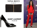 Selena Gomez' Nina Ricci 'Arc' Clutch And Saint Laurent Bow Front Pumps