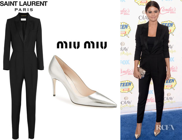 Selena Gomez' Saint Laurent Wool Tuxedo Jumpsuit And Miu Miu Metallic Pumps