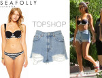 Selena Gomez' Seafolly 'Mod Club' Bikini Top And Topshop Bleach Ripped 'Mom' Shorts