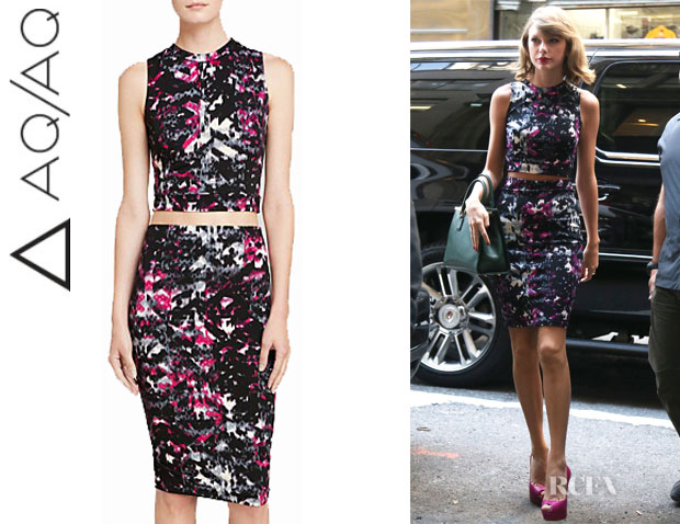 Taylor Swift's AQUA Textured Sleeveless Crop Top And AQUA Textured Pencil Skirt