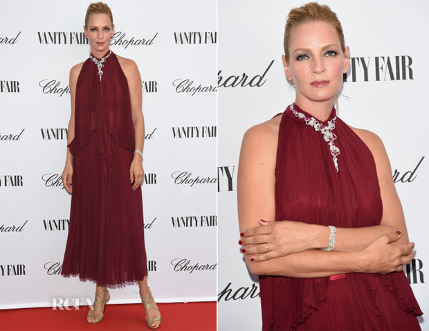 Uma Thurman In Jenny Packham - Chopard And Vanity Fair Present 'Backstage At Cinecitta' Exhibition