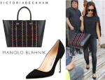 Victoria Beckham's Manolo Blahnik 'BB' Pumps And Victoria Beckham 'Liberty' Tote