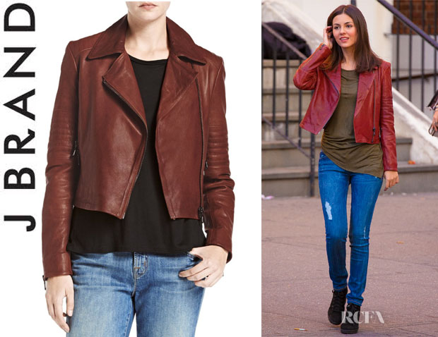 Victoria Justice's J Brand 'Aiah' Leather Jacket
