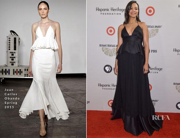 Zoe Saldana In Juan Carlos Obando - 2014 Hispanic Heritage Awards