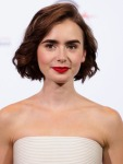 Lily Collins in Pamella Roland