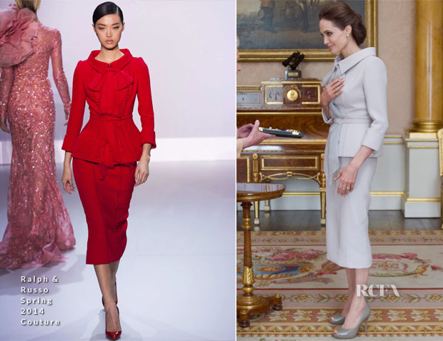 Angelina Jolie In Ralph & Russo -  Insignia of Honorary Dame Grand Cross Presentation