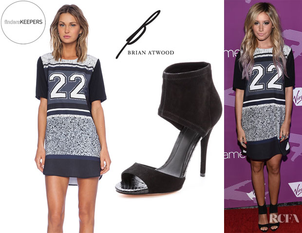 Ashley Tisdale's Finders Keepers 'Good Fortune' Dress And  B Brian Atwood 'Correns' Ankle Cuff Sandals