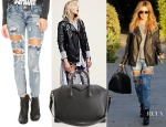 Ashley Tisdale's One Teaspoon Trashed Freebirds Jeans, Free People Studded Vegan Leather Moto Jacket & Givenchy 'Antigona' Tote