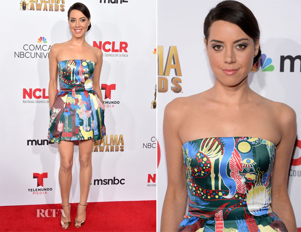 Aubrey Plaza In Mary Katrantzou - 2014 NCLR ALMA Awards