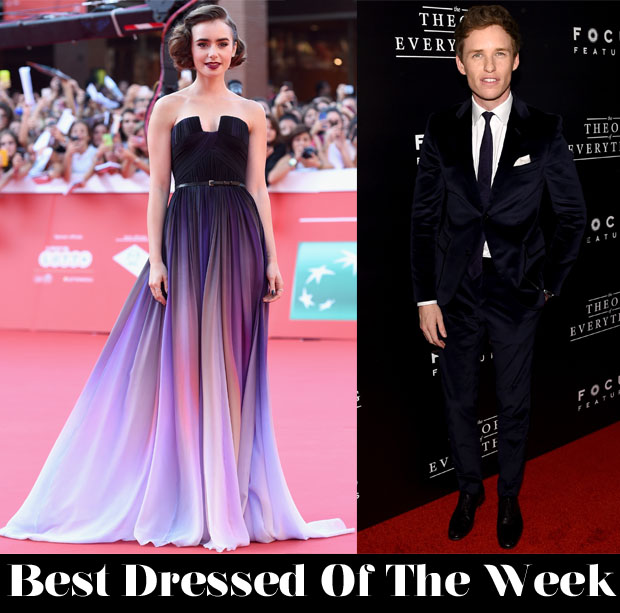 Best Dressed Of The Week - Lily Collins In Elie Saab Couture & Eddie Redmayne In Gucci