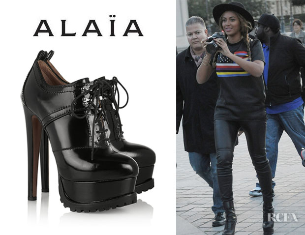 Beyonce Knowles' Alaïa Lace-Up Patent-Leather Ankle Boots