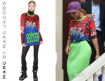 Beyonce Knowles' Marc by Marc Jacobs Long Sleeve Printed Jersey T-Shirt