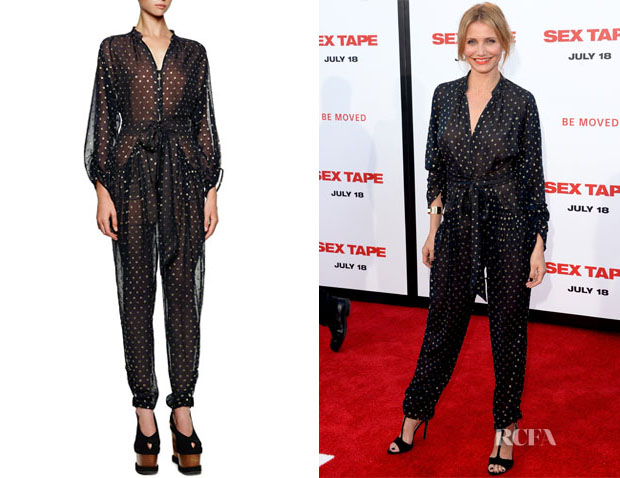 Cameron Diaz' Stella McCartney Gold Dotted Tie-Front Tapered Jumpsuit