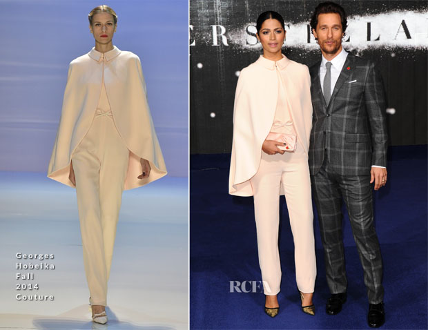 Camila Alves In Georges Hobeika Couture & Matthew McConaughey In Kent and Curwen - 'Interstellar' London Premiere