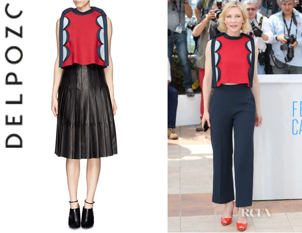 Cate Blanchett's Delpozo Scalloped Trim Colourblock Cropped Top