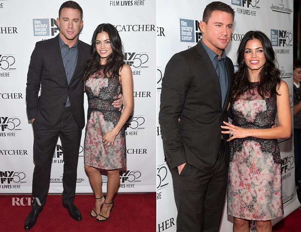 Channing Tatum In Gucci & Jenna Dewan-Tatum In Marchesa Notte - 'Foxcatcher' New York Film Festival Premiere