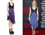 Claire Danes' Stella McCartney Woven-Top Cutout Asymmetrical Dress
