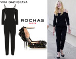 Elle Fanning's Vika Gazinskaya Decolette Shoulder Strap Jumpsuit And Rochas Embellished Suede Pumps