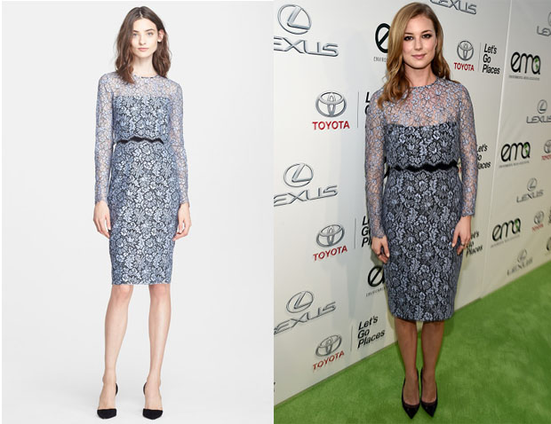 Emily VanCamp's Lela Rose Two-Piece Lace Sheath Dress