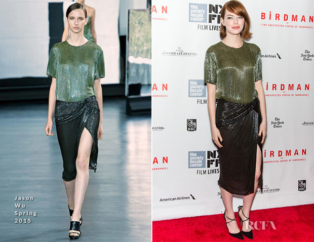 Emma Stone In Jason Wu - 'Birdman Or The Unexpected Virtue Of Ignorance' New York Film Festival Closing Night Gala Presentation