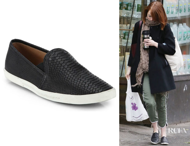 Emma Stone's Joie Kidmore Crocodile-Embossed Leather Sneakers