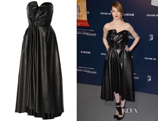 Emma Stone's Lanvin Gathered Faux Stretch-Leather Dress