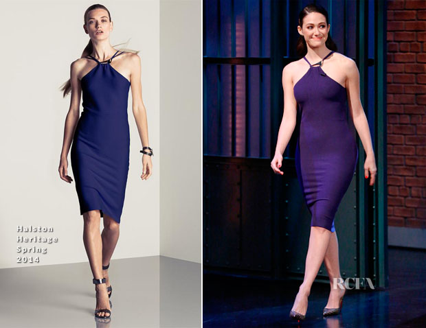 Emmy Rossum In Halston Heritage - Late Night with Seth Meyers