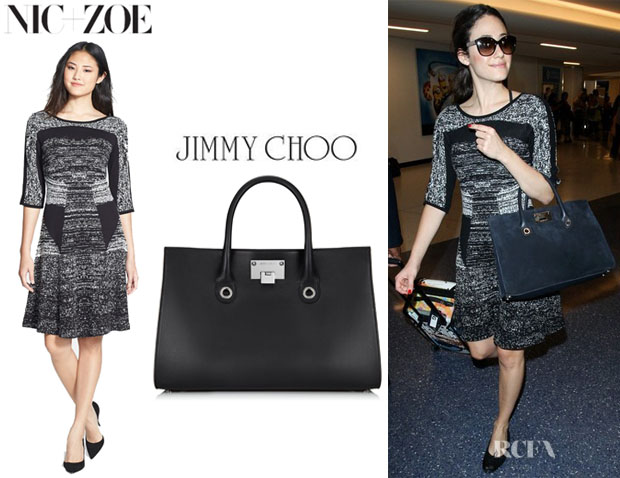 Emmy Rossum's Nic+Zoe Knit Fit And Flare Dress And Jimmy Choo 'Riley' Tote