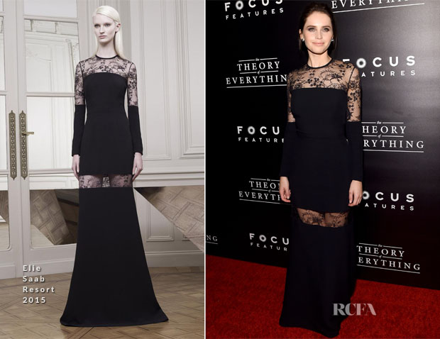 Felicity Jones In Elie Saab - 'The Theory Of Everything' New York Premiere
