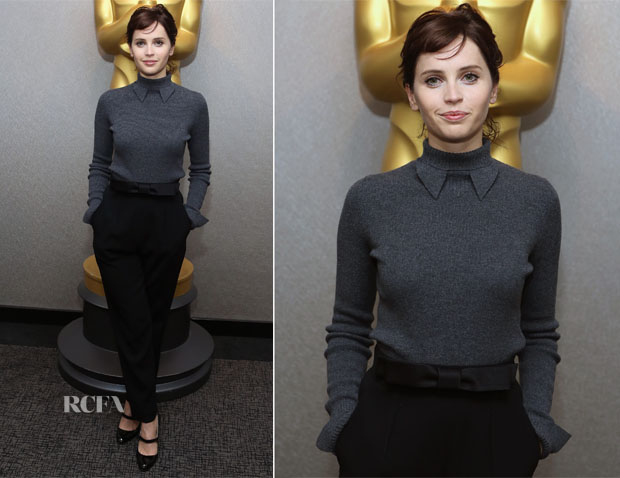 Felicity Jones In Vintage Chanel & Paule Ka - 'The Theory Of Everything' New York Screening