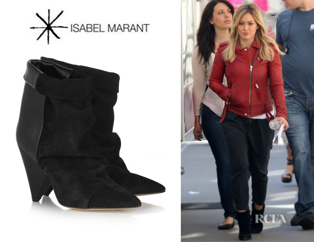 Hilary Duff's Isabel Marant 'Andrew' Suede And Leather Ankle Boots
