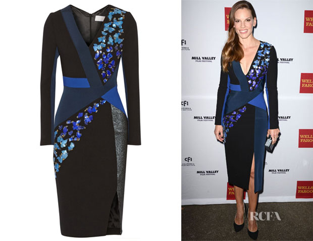 Hilary Swank's Peter Pilotto Aro Embellished Wool and Crepe Dress